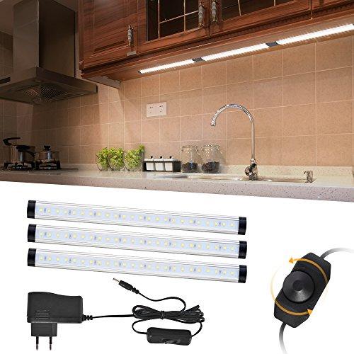 LED unter Kabinett Beleuchtung, 3PC LED Bewegungsmelder Schrankleuchten 12W 920LM 72LED Dimmable helles Lampen-kühles Weiß für Küche, Schrank, Kostenzähler