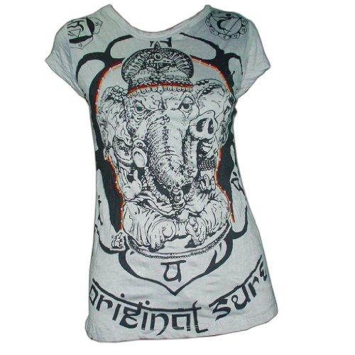 GANESHA T-SHIRT in grau für Frauen, M (Damen-t-shirts Thai Baumwolle)