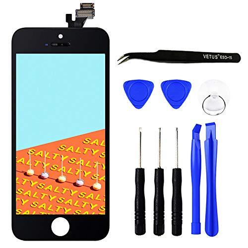 Iphone 5 Touchscreen (TPEKKA Display Ersatz für iPhone 5 Display Bildschirm LCD Touchscreen Digitizer Display Front Komplettes Glas Panel mit Reparatur Komplett Set Werkzeuge für iPhone 5 Screen DIY Schwarz, 4 Zoll)