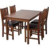 Tischgruppe Lucca (Nussbaum, Tisch 80x120cm + 4 x Stühle), Esszimmertisch mit Stühlen