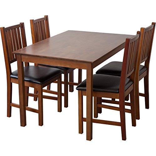 Tischgruppe Lucca (Nussbaum, Tisch 80x120cm + 4 x Stühle), Esszimmertisch mit Stühlen (Tisch Aus Nussbaum)
