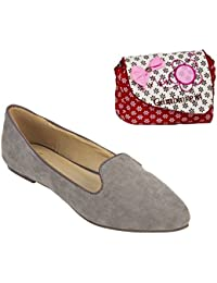 Etashee Suede Leather Pointed Toe Comfortable Grey Ballet Flats With Red Printed Sling Bag For Women
