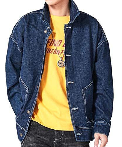 Andopa Herren relaxed fit gewaschene langarm buttoned trucker jacket XL Hellblau