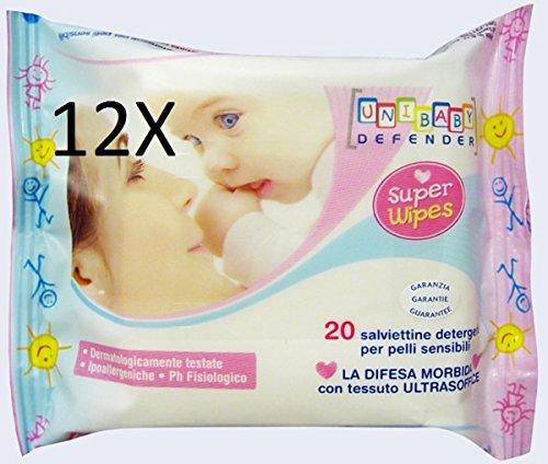 Salviettine detergenti Unibaby 12 confezioni da 20 pz.Cad.(240 salviette totali)