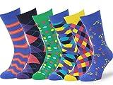 Easton Marlowe - Lot 6 paires - Chaussettes Fantaisie Homme Motif Coton Peigné - 6pk #1, mixed - bright colors, 43-46 EU shoe size