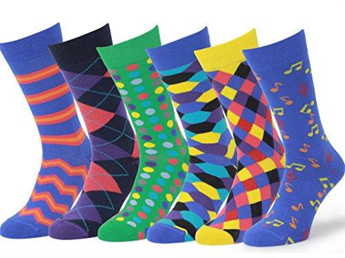 Easton Marlowe 3 Paar Bunt Gemusterte Herren Socke- Gr. 43 - 46 EU Schuhgröße, 6 Paar, #1, Gemischt - Helle Farben