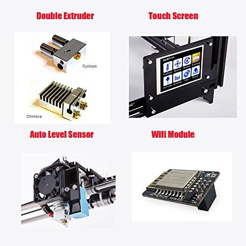 FLSUN F5 3D Drucker, Touchscreen Doppel Extruder DIY Drucker Kit Auto Nivellierung Druck Größe 260X260X350mm mit Beheizten Bett und Wifi Modul - 4
