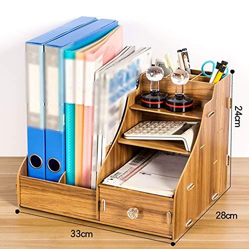 Desktop-Aufbewahrungsbox Büroartikel Aktenablage aus Holz (5 Farben, 2 Stile) (Farbe : Nussbaum)