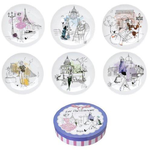 Assiettes à dessert Les parisiennes Coffret de 6 assorties Blanc et motifs Porcelaine La chaise longue 32-K2-101