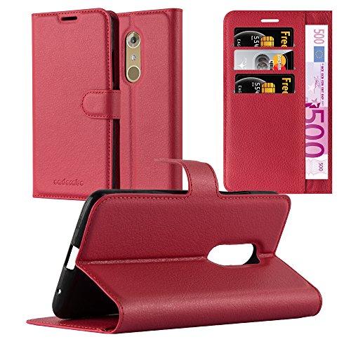 Cadorabo Hülle für ZTE Axon 7 - Hülle in Karmin ROT - Handyhülle mit Kartenfach und Standfunktion - Case Cover Schutzhülle Etui Tasche Book Klapp Style