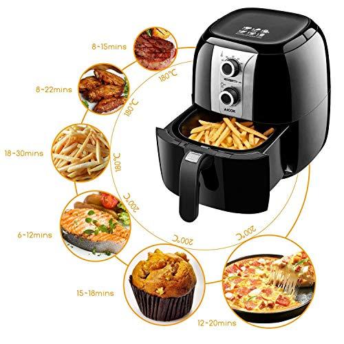 Aicok Heißluftfritteuse, 3,5 L Fritteuse ohne Öl mit Verstecktem Griff, Air Fryer Überhitzungsschutz, Einfache Reinigung, Einstellbare Temperatur & Timer, Fett-frei BPA-frei, 1400W