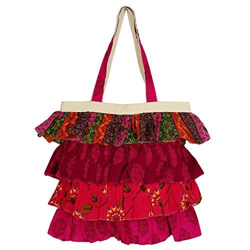 Shopping Bag designer froufrous Avec 4 jabot niveaux, en toile de coton imprimés popelines, Zipper clôture, 2 poches