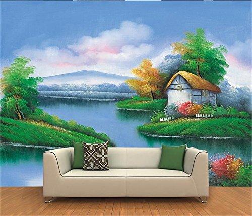 Yosot 3D Tapeten Individuelle Fototapete Wohnzimmer Wandbild Thomas See Landschaft Öl Malerei Sofa Hintergrundbild Für 3D-Wand-450Cmx300Cm -