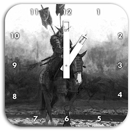 Samurai Kostüm Muster Krieger - Stil.Zeit Samurai Krieger auf einem Pferd Kunst B&W, Wanduhr Durchmesser 28cm mit weißen eckigen Zeigern und Ziffernblatt