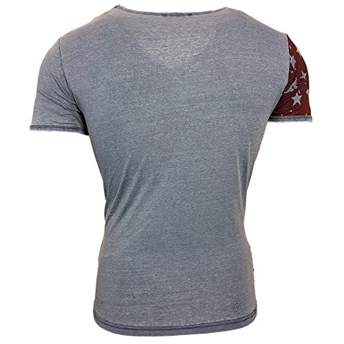 NEU Rusty Neal Herren V-Neck T-Shirt Kurzarm Hemd Slim Fit Design Fashion 6706-Y Marine
