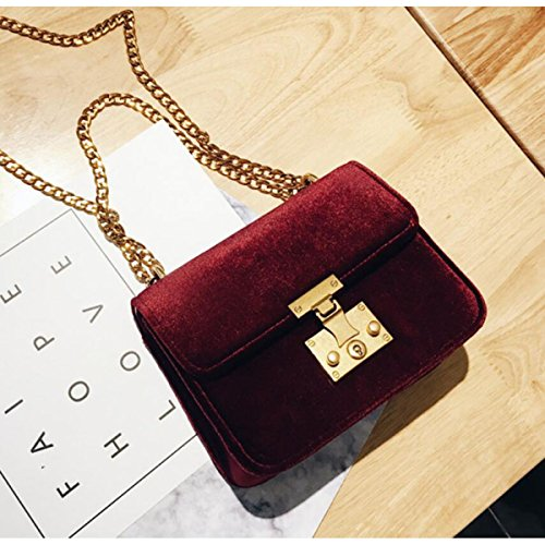 6d62c17ccb5bc ... Damen Samt Mini Kleine Quadratische Tasche Kettensack Schloss Schulter  Messenger Bag Mode Klassisch Elegant Red ...