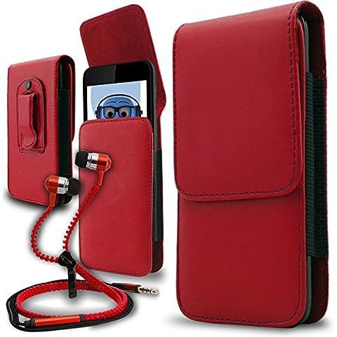 iTALKonline Samsung T509 Rosso PREMIUM PU pelle verticale esecutivo laterale della cassa del sacchetto per armi della copertura con attacco cintura Clip e chiusura magnetica