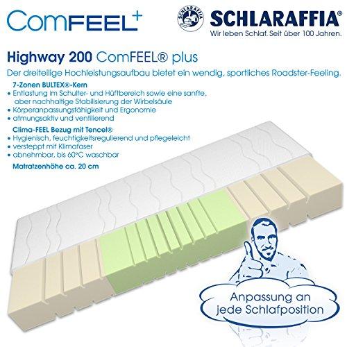 Schlaraffia Highway 200 ComFEEL 7-Zonen Kaltschaum-Matratze H3 (90 x 200cm)