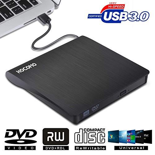 Externes DVD-Laufwerk für Laptop - HOCOMO Externe CD/DVD Laufwerk USB 3.0, Portable Slim CD/DVD-RW Brenner für Alle Laptops/Desktop(Schwarz)