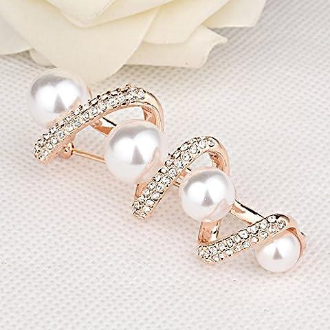 OUYANG Diamante perla spilla