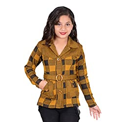 Nikky Fashion Girls Woolen Quilted Long Coat (YEL1601_Yellow_5-6 Years)