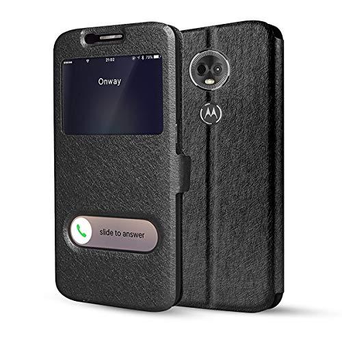 HDRUN Flip Tasche Cover mit Fenster Handyhülle Schutzhülle für Motorola Moto E5 Plus (6.0