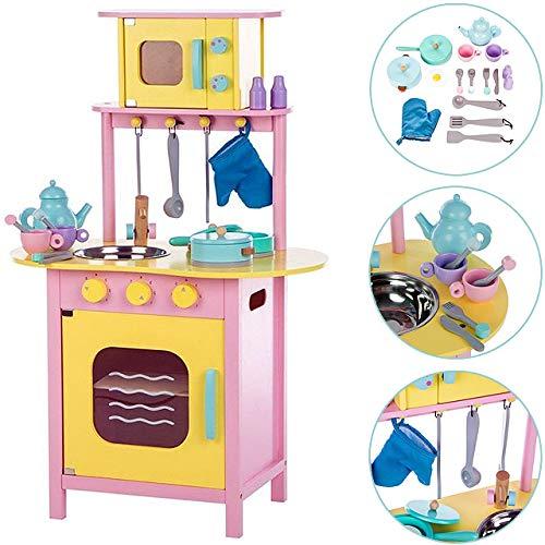Deuba Kinderküche mit Mikrowelle | Spielküche komplett aus Holz | mit Topf, Pfanne und Zubehör| Spielzeug Holzküche für Kinder