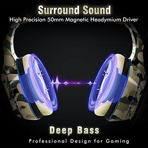 Gaming Headset für PS4 PC, Beexcellent Profi-Spieler s Choice Super Komfortable Stereo Bass 3.5mm LED Camouflage Kopfhörer mit Mikrofon für Xbox One, Laptops, Mac, Tablet und Smartphone