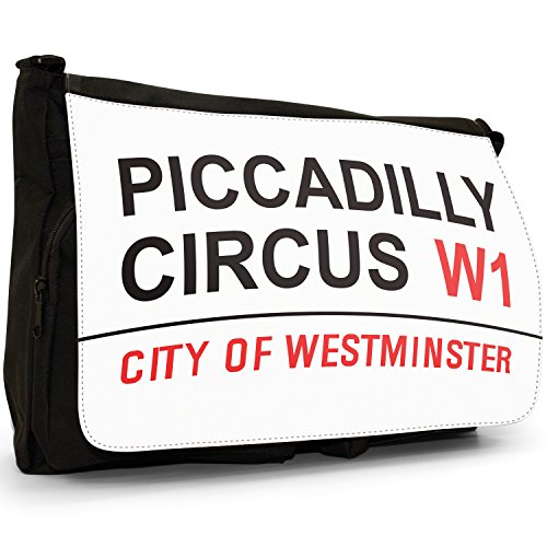 Piccadilly Circus London West End Große Messenger- / Laptop- / Schultasche Schultertasche aus schwarzem Canvas -