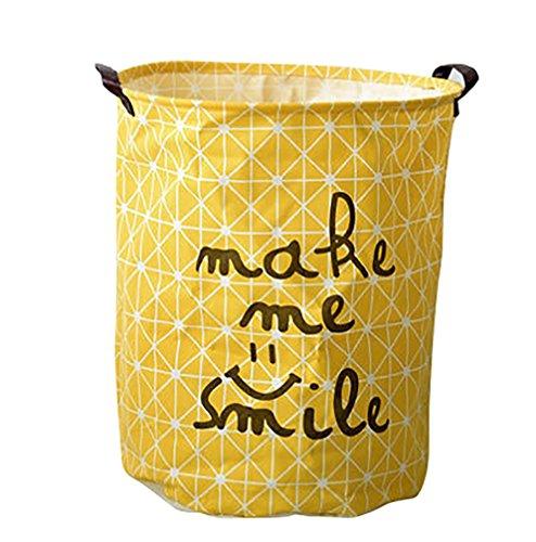 JEELINBORE Plegable Cestos para la colada Cajas de almacenaje Impermeable Cestas de Tela para Guardar Organizadoras Juguetes Ropa Cesta para lavandería (Amarillo, 40x50CM)