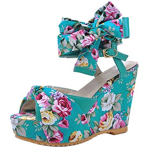 TAOFFEN Damen Mode-Event Peep-toe Floral Keilabsatz Slingback Schnalle Sandalen Blau