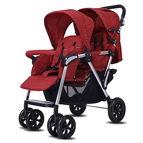 Baby trolley Leichter Doppelkinderwagen, Doppelkinderwagen mit Hochlandschaft - 5-Punkt-Sicherheitssystem, 3-Lagen-Rollo für UV-Schutz, einfaches Zusammenklappen, Ablagekorb
