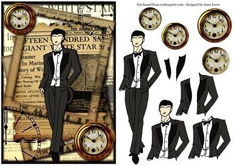 Feuille A4 pour confection de carte de vœux - The Dapper Gent + Newspaper & Pocket Watches par Anne Lever