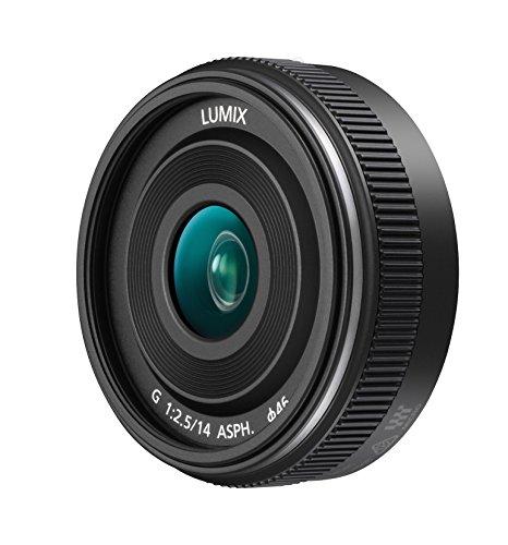 Panasonic H-H014A LUMIX G Festbrennweiten 14 mm F2.5 II ASPH. Objektiv (Pancake Objektiv, Filtergröße 46 mm, Bildwinkel 75°) schwarz Panasonic Weitwinkel-objektiv