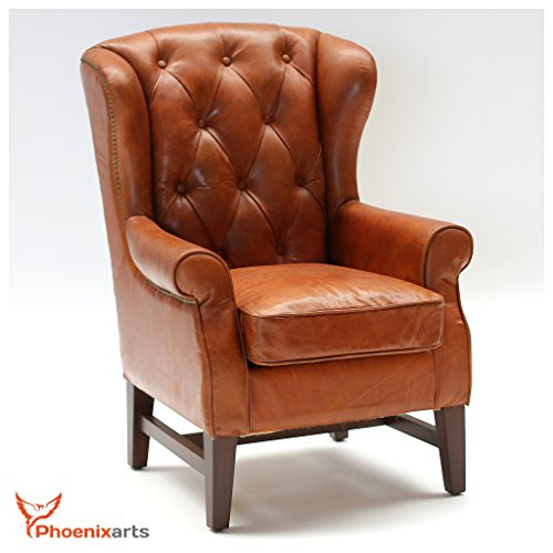 Chesterfield Vintage Ledersessel Braun Echtleder Ohrensessel Design Lounge Sessel 546