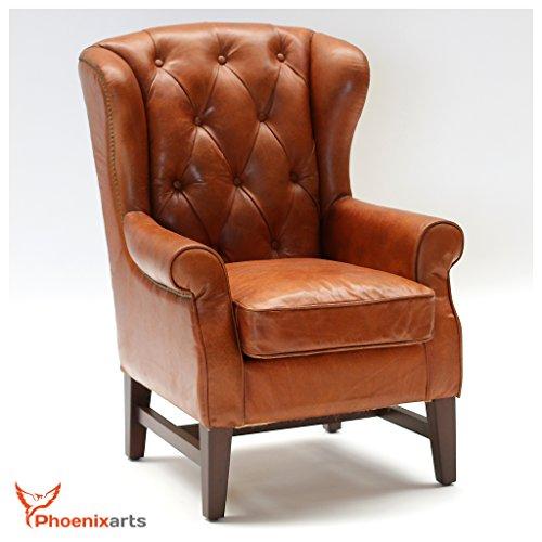Phoenixarts Chesterfield Vintage Ledersessel Braun Schwarz Echtleder Ohrensessel Design Clubsessel...