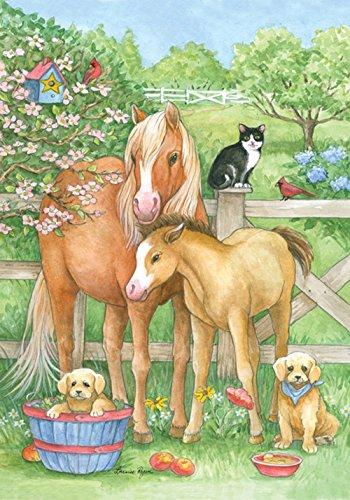 ,6x 94cm Dekorative Spring Blumen Country Farm Tiere Pferd Hund Katze House Flagge ()