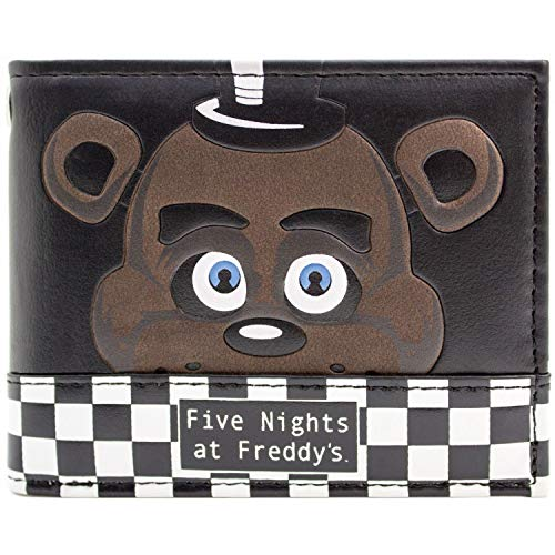 Freddy Fazbear Scary Face Game Over Black Bi-Fold Wallet