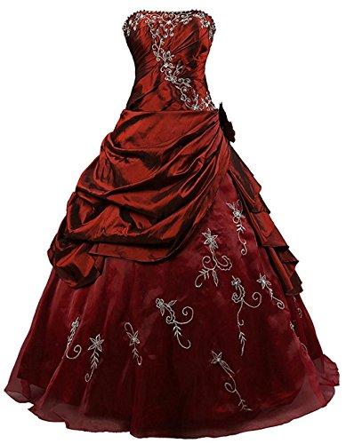 O.D.W Frauen Gotisch Brautkleider Formales Ballkleider Vintage Hochzeitskleider(Burgund, 32)