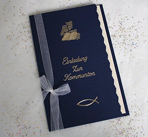 5 Einladungskarten zur Kommunion incl. cremefarbigem Umschlag Farbe dunkelblau Handarbeit