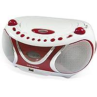 Metronic 477117 Radio/Lecteur CD/MP3 Portable Cherry avec Port USB - Rouge et Blanc