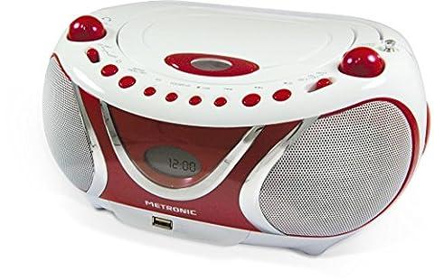 Metronic 477117 Radio / Lecteur CD / MP3 Portable Cherry avec Port USB - Rouge et Blanc