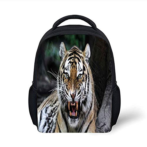 Kids School Backpack African,Tiger Face with Roaring Wildlife Safari Savannah Animal Nature Zoo Photo Print,Multicolor Plain Bookbag Travel Daypack