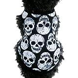 Ropa Perros,Xinan Ropa del Gato Pequeña Cráneo Camiseta Ropa de Halloween Dog Clothes (XS)