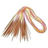 D DOLITY 18x Bambus Tunesische Häkelnadel Acryl Stricknadeln, Afghanische Teppich-Haken-Stricknadeln - 100 cm