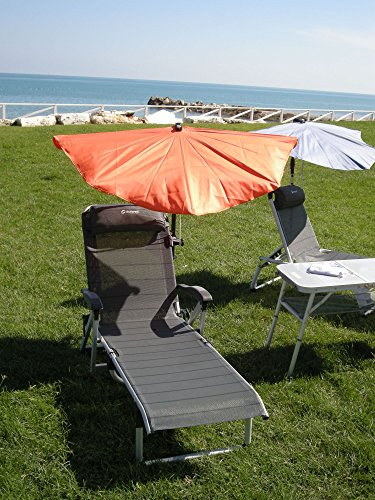 Vacances – goulia Nova – Set Holly Relax compartiments Écran – Orange + Accoudoirs Chaise longue avec coussin de nuque – 5,5 Kg léger réglable – Stabielo – Aluminium – Chaise longue 190 x 62 x 29 cm – Accoudoirs réglables Couleur : titanium – Distribution – Holly Mobile Mobile de protection de soleil Sunshade Holly®