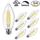 CMYK Glühfaden LED Lampe ersetzt 40 Watt E27 Kerze, 4W 470 Lumen 2700K Warmweiss Filament Fadenlampe 360° 230V AC mit Glas-Gehäuse, 6er Pack