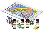 Aromathérapie Kit : aromathérapie Livre de Christine Woodward (vendu plus de 1million copies) & 4 Huiles Essentielles: Lavande, Rosemary, Eucalyptus & Ylang Ylang (chaque 5ml)