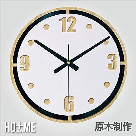 Ver el salón nórdico reloj de pared redondo de madera sólida personalidad creativa minimalista moderno art deco14pulg.
