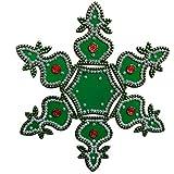 Buy Kalash Design Acrylic Green Rangoli Kolam Decorated With Silver Coloured Stones - 7 Pieces Set